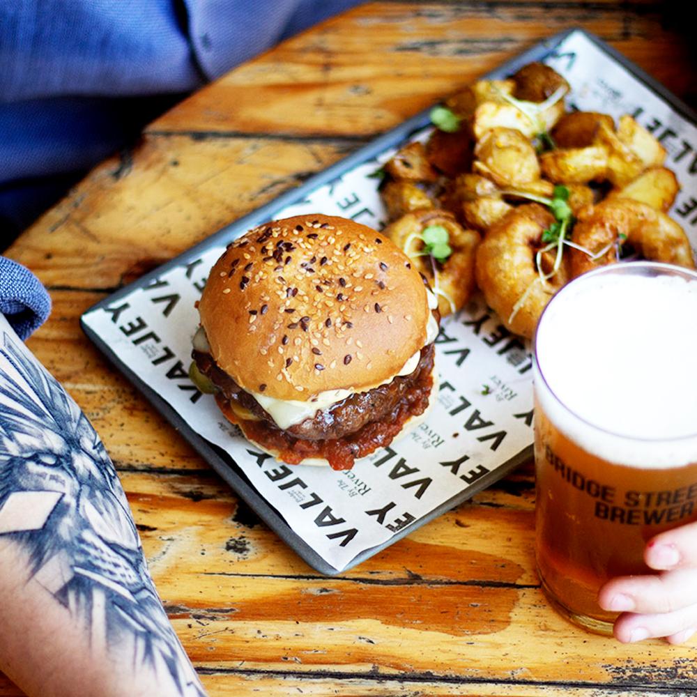 Bridge Street Micro Brewey Craft Beer Burger